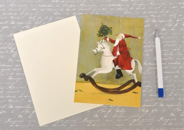 Weihnachtsmann auf Schaukelpferd - Klappkarte mit Umschlag