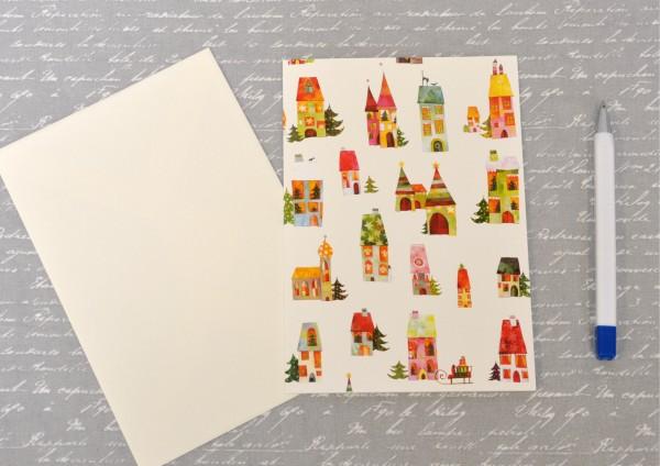 Weihnachtshäuser- Klappkarte mit Umschlag