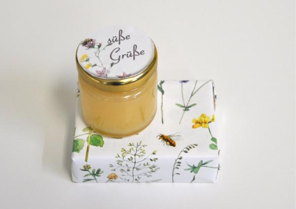 Süße Grüße - Honigmilchseife + Honig - fertig verpackt