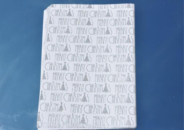 Merry Christmas Silber mit Glitzer - Geschenkpapier