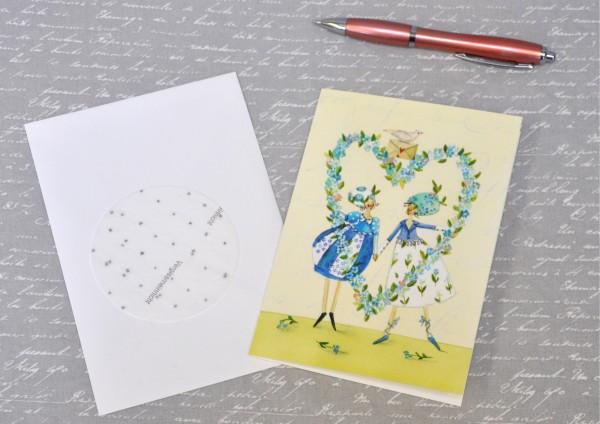 Vergissmeinnicht - Klappkarte Saatscheibe und Umschlag