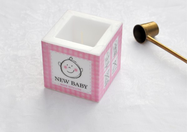 New Baby in Rosa - Kerze