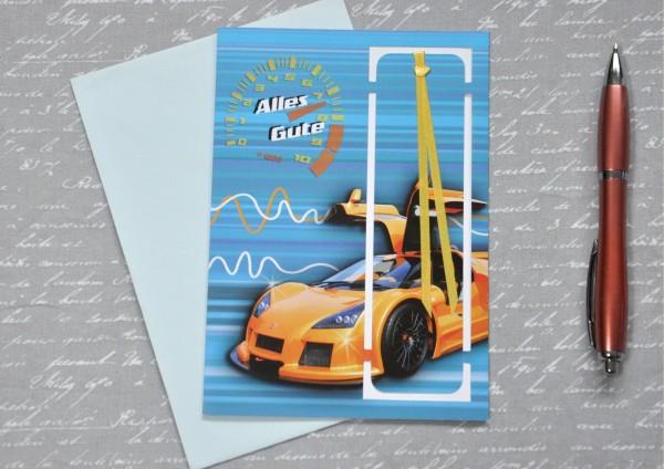 Rennauto - Lesezeichenkarte mit Umschlag