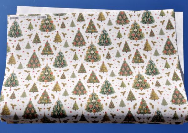 geschmückte Weihnachtsbäume - Geschenkpapier