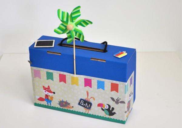 Befüllter Koffer zum Schulanfang - Blau mit Windmühle