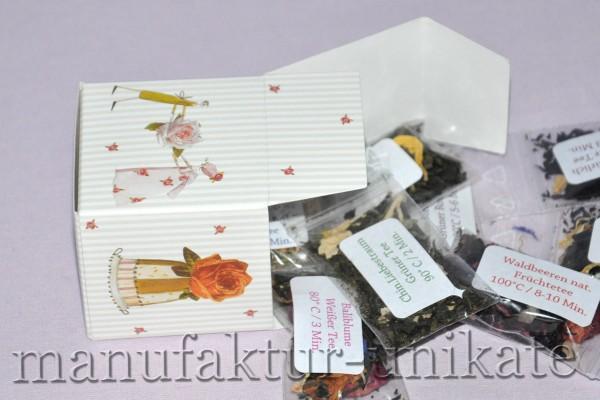 Würfelbox Rose + 10 x Tee