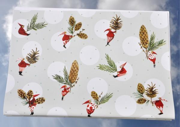 Weihnachtswichtel mit Tannenzapfen - Geschenkpapier