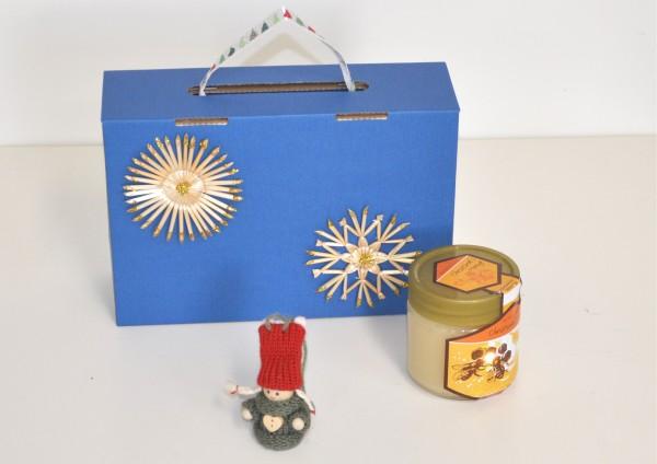 Geschenkbox mit Honig und Wichtelmädchen für Wunschtee
