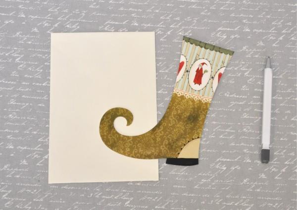 Weihnachtsstiefel GRÜN - gestanzte Klappkarte mit Umschlag