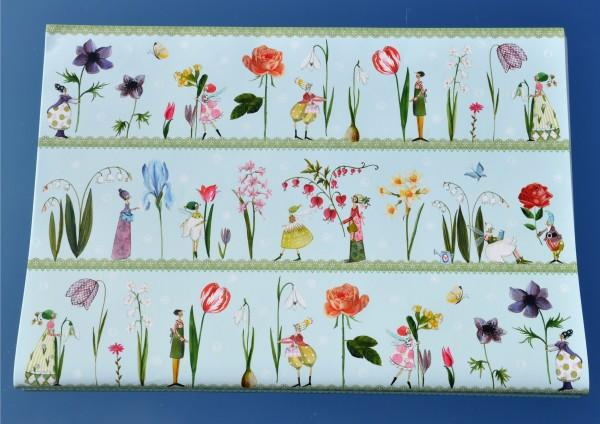 Blumen himmelblau - Geschenkpapier