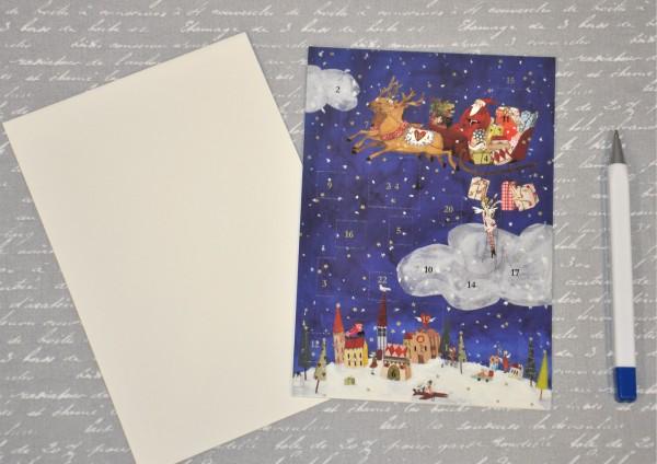Weihnachtsmann im Rentierschlitten - Adventskalenderkarte
