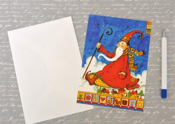 Weihnachtsmann im Sauseschritt - Klappkarte mit Umschlag