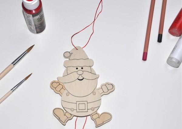Weihnachtsmann - Hampelmann aus Holz