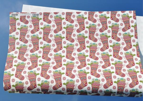 gefüllte Weihnachtssocken - Geschenkpapier