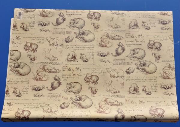 Katzen / Zeichnungen und Notizen von Leonardo Da Vinci - Geschenkpapier mit Golddruck