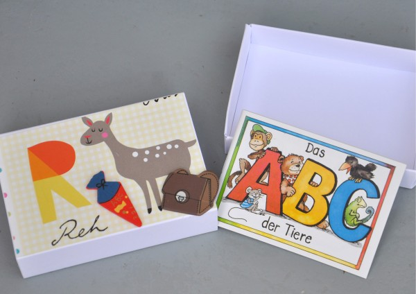Schulanfang R wie Reh - Geschenkschachtel mit Minibuch