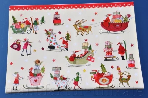 Weihnachtsschlitten- Geschenkpapier