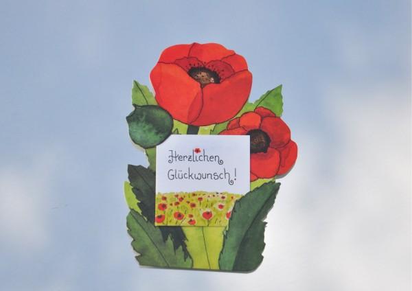 Mohnblume - Geschenkaufklebefigur