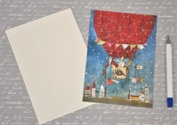 Weihnachtsballon - Adventskalenderkarte