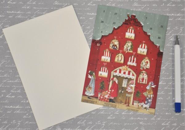 Weihnachtshaus - Adventskalenderkarte