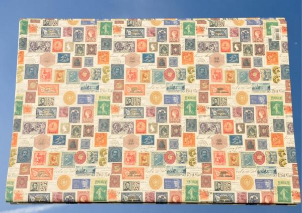 Philatelie / Briefmarken - Geschenkpapier mit Golddruck