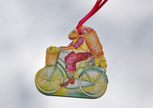 Osterhase auf dem Fahrrad - Schmuckanhänger