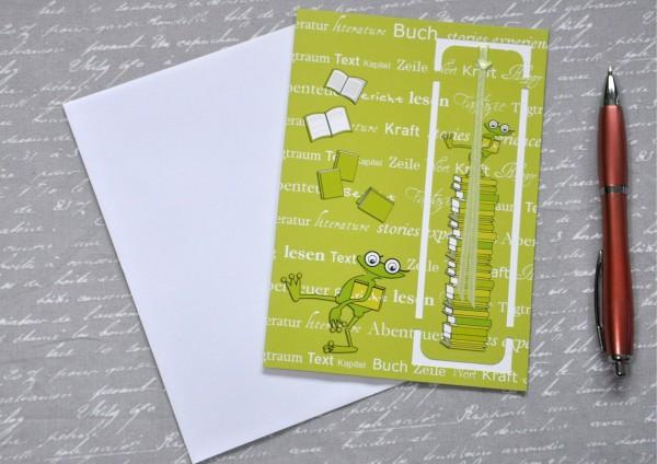 Frosch - Lesezeichenkarte mit Umschlag