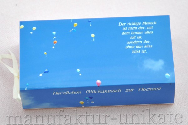 Schachtel zur Hochzeit - Luftballon / Spruch