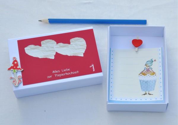 1. Hochzeitstag Papierhochzeit - Geschenkschachtel Glückspilz