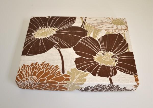 Braune Blumen Retro mit Goldglanz - Geschenkschachtel mit Deckel