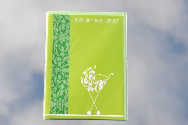 Zur Geburt - Klappkarte mit Umschlag