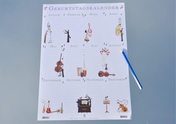 Musik - Geburtstagskalender Wandplaner