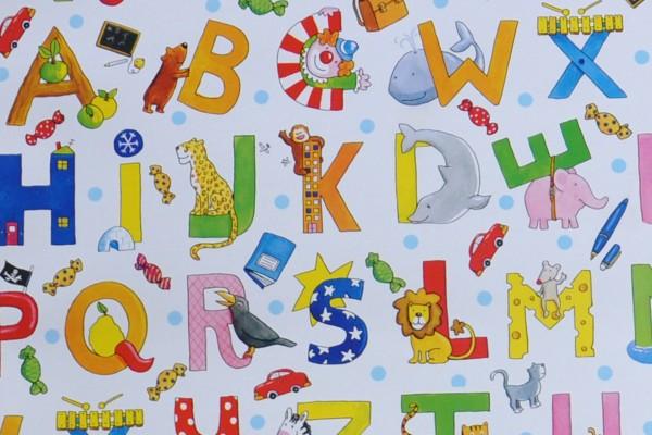 Buchstaben - Geschenkpapier Meterware