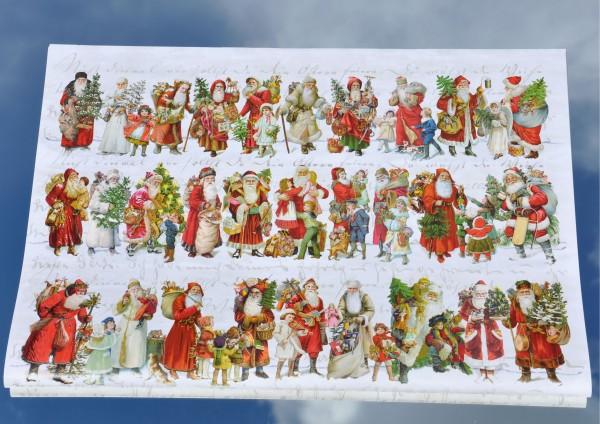 Nostalgische Weihnachtsmänner - Geschenkpapier