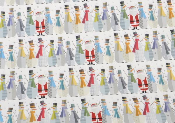 Schneemann / Weihnachtsmann - Geschenkpapier
