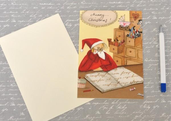Tagebuch vom Weihnachtsmann - Klappkarte mit Umschlag