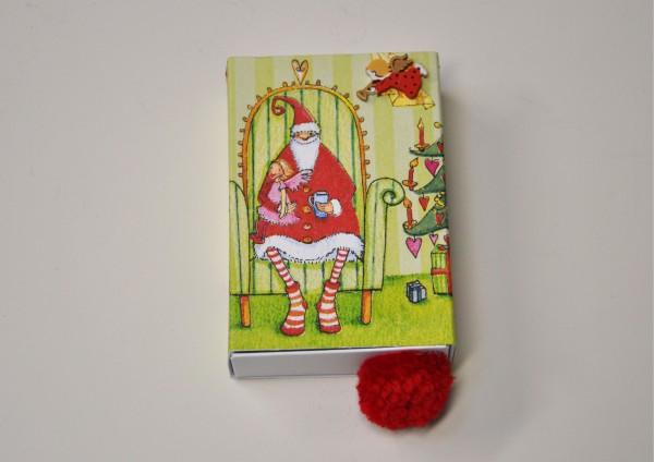 Weihnachtsmann im Sessel - Geschenkschachtel
