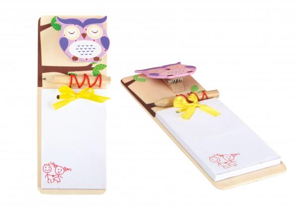 Notizblock aus Holz mit Klammer und Stift