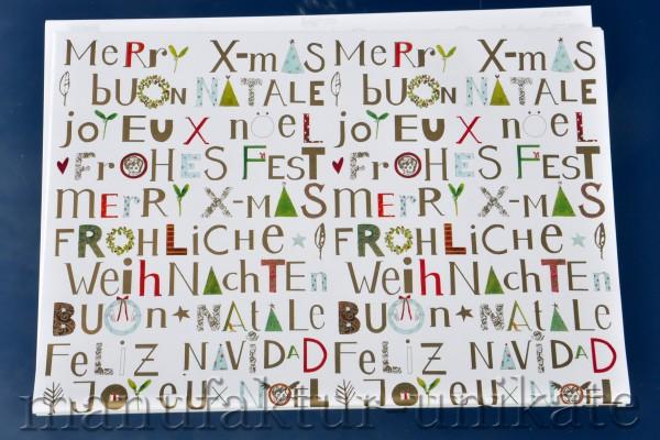 Weihnachtswünsche International - Geschenkpapier
