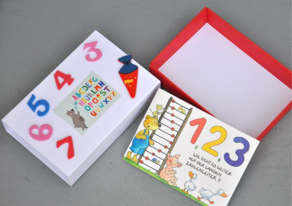 Schulanfang Zahlen - Geschenkschachtel mit Minibuch
