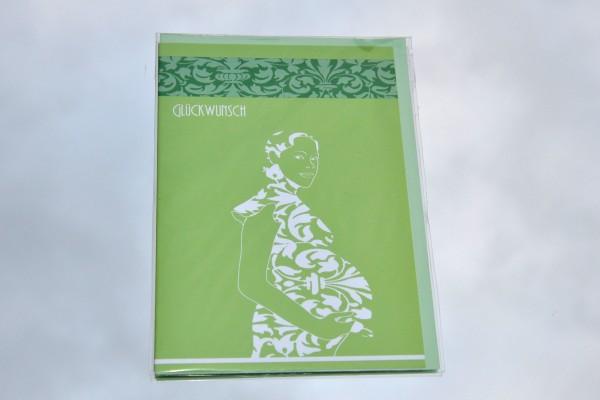 Zur Schwangerschaft - Klappkarte mit Umschlag