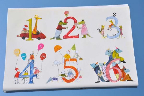 Zahlen 1 bis 12 - Geschenkpapier