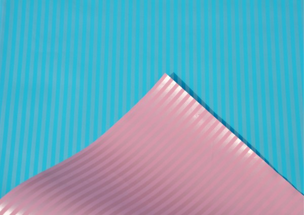 Blau / Rosa gestreift - Geschenkpapier Meterware