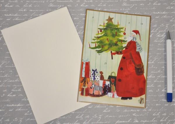 Weihnachtsmann mit Tannenbaum - Adventskalenderkarte