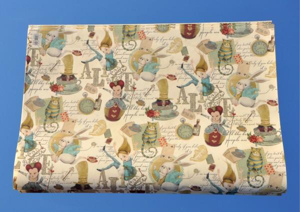 Alice im Wunderland - Geschenkpapier mit Golddruck