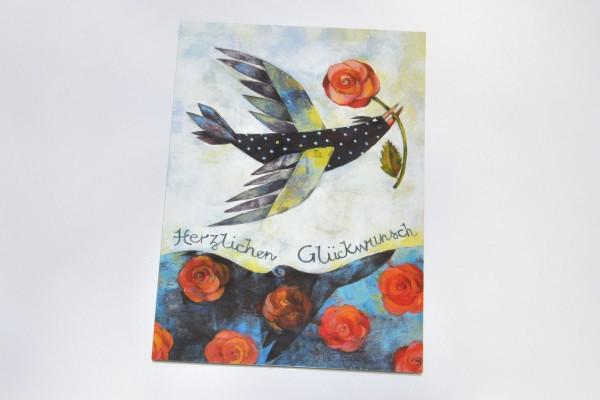 Rosenvogel - Postkarte