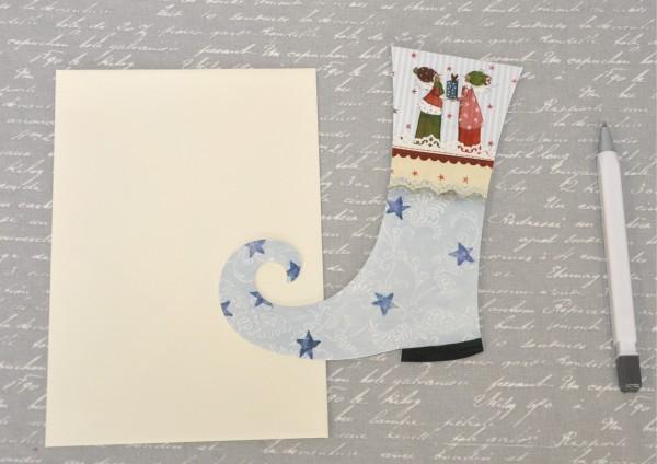 Weihnachtsstiefel BLAU - gestanzte Klappkarte mit Umschlag