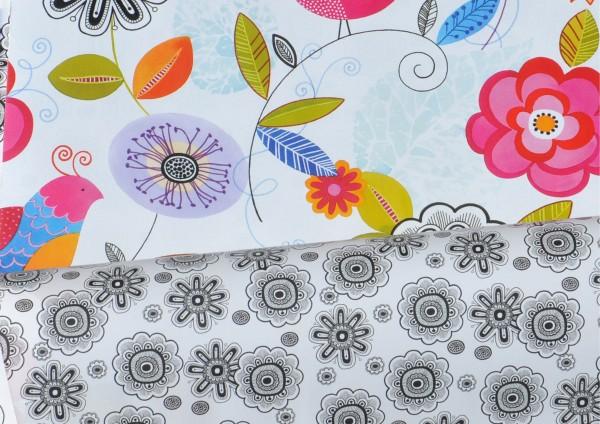 Blumen Retro - Geschenkpapier beidseitig bedruckt