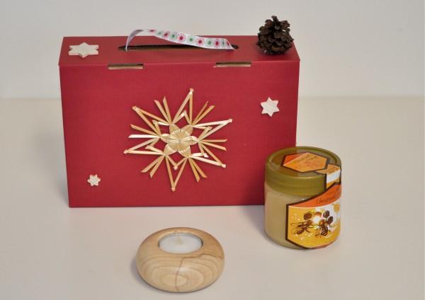 Geschenkbox mit Honig und Holz-Teelichthalter für Wunschtee