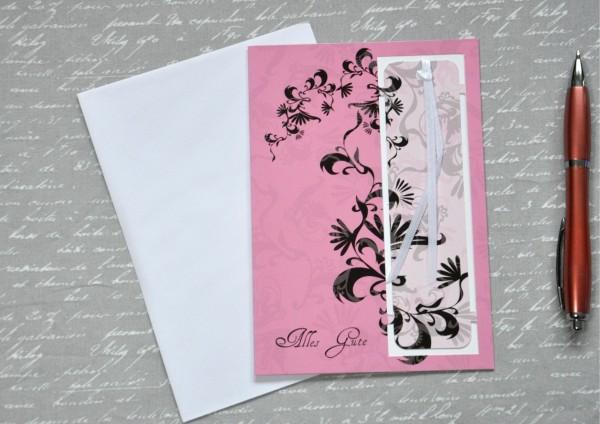 Blumenranke - Lesezeichenkarte mit Umschlag